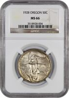 1928 OREGON 50C NGC MINT STATE 66 - LOW MINTAGE ISSUE - SILVER CLASSIC COMMEMORATIVE