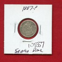 1887 SEATED LIBERTY DIME SILVER 105557 HIGH GRADE COIN US MINT   KEY DATE