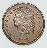 1835 CLASSIC HEAD HALF CENT ALMOST UNCIRCULATED 1/2C