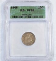 1848 SEATED LIBERTY DIME CERTIFIED ICG VF 35 SILVER 10C