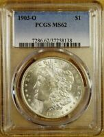 1903-O PCGS MINT STATE 62 MORGAN DOLLAR - 100 WHITE