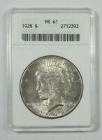 1928 PEACE DOLLAR CERTIFIED ANACS MINT STATE 61 SILVER DOLLAR