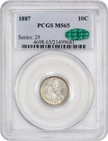 1887 10C PCGS/CAC MINT STATE 65 -  TYPE COIN - SEATED LIBERTY DIME -  TYPE COIN