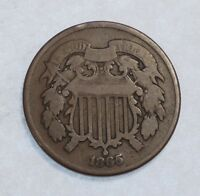 1865  TWO-CENT PIECE GOOD  2-CENTS, CIVIL WAR ERA, ODD DENOMINATION TYPE COIN