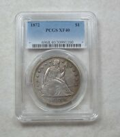 1872 LIBERTY SEATED DOLLAR CERTIFIED  PCGS  EXTRA FINE  40 SILVER $