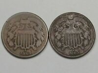 2 CIVIL WAR ERA US TWO CENT PIECE COINS: 1864 & 1865.  19