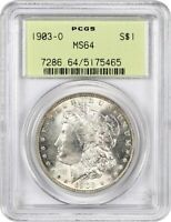 1903-O $1 PCGS MINT STATE 64 OGH LOW MINTAGE DATE, OLD GREEN LABEL HOLDER