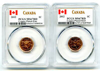 2012 CANADA CENT PCGS MS67 RD ZINC & STEEL TWO COIN SET LAST