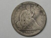 1838 SILVER US SEATED LIBERTY DIME NO DRAPERY - LARGE STARS TYPE.  30