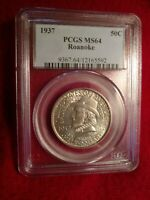 1937 ROANOKE COMMEMORATIVE HALF DOLLAR PCGS M64
