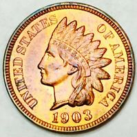 1903 INDIAN HEAD CENT SOLID GEM BUKNOCKOUT CHERRY RED COLOR WOW COIN3530