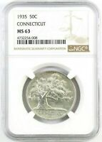 1935 CONNECTICUT COMMEMORATIVE HALF DOLLAR : NGC MINT STATE 63