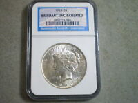 1923 PEACE SILVER DOLLAR BRILLIANT UNCIRCULATED NGC