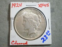1924 PEACE SILVER DOLLAR/ CLEANING      -\UNCERTIFIED//-