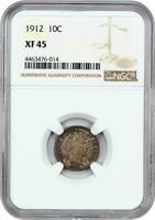 1912 10C NGC EXTRA FINE 45 - BARBER DIME