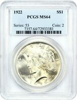 1922 $1 PCGS MINT STATE 64 - PEACE SILVER DOLLAR