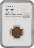 1910-S 1C NGC MINT STATE 63 BN - LINCOLN CENT