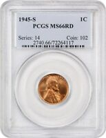 1945-S 1C PCGS MINT STATE 66 RD - LINCOLN CENT