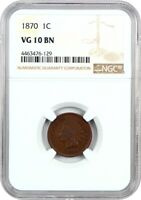 1870 1C NGC VG-10 BN -  DATE - INDIAN CENT -  DATE