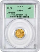 1922 GRANT WITH STAR G$1 PCGS MINT STATE 66 OGH - CLASSIC COMMEMORATIVE - GOLD COIN