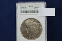 1923 PEACE SILVER DOLLAR BRILLIANT UNCIRCULATED ANACS MINT STATE 62 M1371
