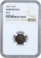 1835 H10C NGC GOOD DETAILS BENT - EARLY HALF DIMES