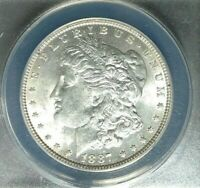 1887 MORGAN SILVER DOLLAR  ANACS MINT STATE 62 VAM 3 BEAUTIFUL COIN