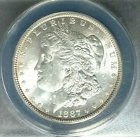 1887 MORGAN SILVER DOLLAR  ANACS MINT STATE 62 VAM 11 BEAUTIFUL COIN
