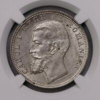 NGC MS63 1900 ROMANIA 2L SILVERE KEY DATE LUSTER