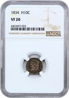 1834 H10C NGC VF20 - EARLY HALF DIMES
