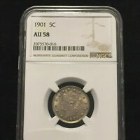 1901 LIBERTY HEAD NICKEL NGC AU58