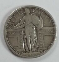 1917-S TYPE-1 STANDING LIBERTY QUARTER  FINE SILVER 25C