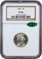 1901 5C NGC/CAC PR 66 - LIBERTY V NICKEL
