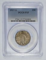 1927-S STANDING LIBERTY QUARTER CERTIFIED  PCGS F 15 SILVER 25-CENTS