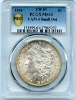C11705- 1884 VAM-4 SMALL DOT TOP 100 MORGAN DOLLAR PCGS MINT STATE 63