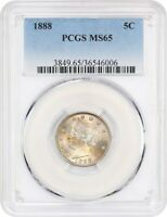 1888 5C PCGS MINT STATE 65 - BETTER DATE - LIBERTY V NICKEL - BETTER DATE