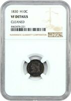 1830 H10C NGC VF DETAILS CLEANED - EARLY HALF DIMES