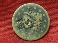 RARE AMERICAN LARGE CENT COUNTER STAMP 5.1 ERROR COIN US MIN