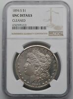 1894-S MORGAN SILVER DOLLAR $1 NGC UNCIRCULATED NGC UNC DETAILS CLEANED