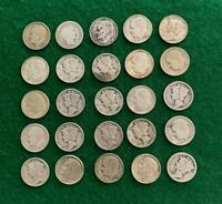 25  90  SILVER DIMES ROOSEVELT AND MERCURY MIXED DATES    N
