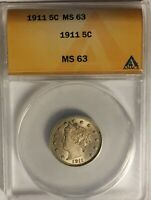 1911 LIBERTY HEAD NICKEL  ANACS MINT STATE 63