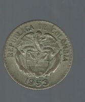 COLOMBIA 1953 20 CENTAVOS SILVER KM213 OLD COIN HARD TO FIND