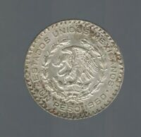 MEXICO 1960 PESO SILVER KM459 LARGE OLD DEBASED COIN