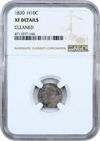 1830 H10C NGC GENUINE EXTRA FINE  DETAILS CLEANED - EARLY HALF DIMES