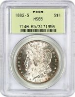 1882-S $1 PCGS MINT STATE 65 OGH - MORGAN SILVER DOLLAR - OLD GREEN LABEL HOLDER