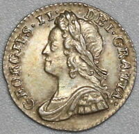 1756 GEORGE II PENNY GREAT BRITAIN SILVER ALMOST UNCIRCULATED COIN  19081801R