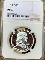1953 FRANKLIN HALF NGC PF 67   PRICE GUIDE $575   LOOKS CAME