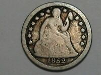1852 US SEATED LIBERTY DIME.  20