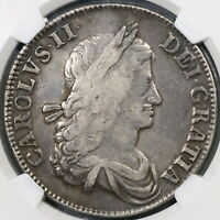 1662 NGC VF 25 CHARLES II CROWN ENGLAND GREAT BRITAIN NO ROSE COIN  19082505C
