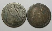 2 SEATED LIBERTY DIME. 1890, 1889.  28
